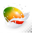 Mango in a milk splash on a transparent background vector image vector image