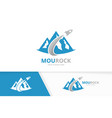 mountain and rocket logo combination vector image vector image