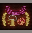 neon oktoberfest signs isolated on brick vector image vector image