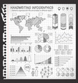 notebook black and white pen drawn infographics vector image