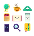 Office Desk Supplies Collection Of Objects With vector image