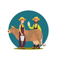 Organic farm milk products cartoon character