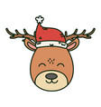 reindeer with hat celebration merry christmas vector image vector image