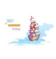 sail ship with sea vector image