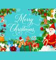 santa christmas gift and new year garland card vector image vector image