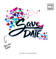 save the date text invitation with hearts vector image