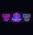 seafood restaurant neon sign seafood vector image vector image