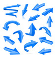 set of blue 3d shiny arrows vector image vector image