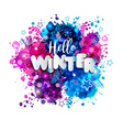 Signs hello winter in paper style on multicolor vector image