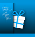 simple blue card with christmas gift made from vector image vector image