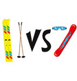ski against snowboard vector image vector image
