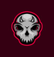 skull mascot logo with little horn gaming vector image vector image