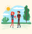 smiling lovers with flowers walking in park vector image vector image
