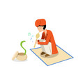 snake charmer and cobra in flat design vector image