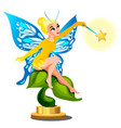 statue of a young beautiful fairy girl with a vector image vector image