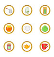tea time icon set cartoon style vector image vector image