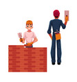 two construction workers - builder and electrician vector image vector image