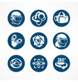 virtual reality round icon set vector image