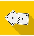 White dices icon in flat style vector image vector image
