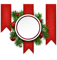 White round paper christmas card vector image vector image
