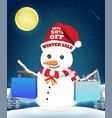 winter sale snowman shopping with paper bag vector image vector image