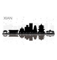 xian china city skyline black and white vector image vector image