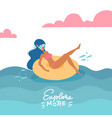 young woman in swimsuit and snorkeling mask vector image vector image