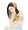 Beautiful girl and body care vector image