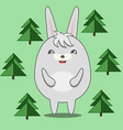 cute round rabbit in fir forest vector image