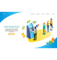 atm services landing page website template vector image