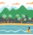 beach summer landscape tourist sunbeds vector image