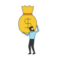 business man holding money bag vector image vector image