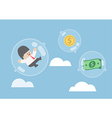Businessman and dollar money floating in bubbles vector image vector image