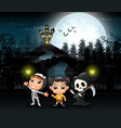 cartoon of kids wearing halloween costume with a b vector image vector image