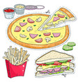 comic style colorful icons set fast food pizza vector image