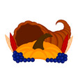 cornucopia with a pumpkin and grapes vector image vector image