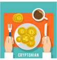 cryptonian concept breakfast of golden coin vector image vector image