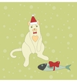 Cute christmas cat with a fish vector image