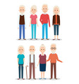 cute grandparents group characters vector image