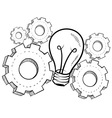 doodle idea gears lightbulb vector image vector image