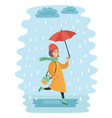 fall girl walking in the rain vector image vector image