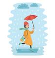 fall girl walking in the rain vector image