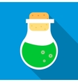 Flask with green potion icon flat style vector image vector image