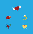 flat icon passion set of celebration engagement vector image