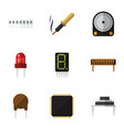 flat icon technology set of memory hdd cpu and vector image vector image