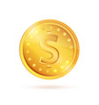 golden coin dollar sign symbol isolated vector image vector image