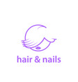 hairstyle and nails studio linear logo template vector image