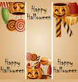 halloween banner pumpkins basket and collected can vector image vector image