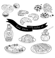 hand drawn set with cakes and sweets vector image vector image