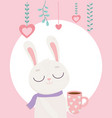 happy valentines day cute bunny with coffee cup vector image vector image